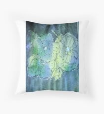 Flowers in blue and green Throw Pillow