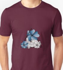 blue flowers in triangle Unisex T-Shirt