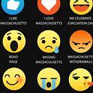I Love Massachusetts USA United States Emoji Emoticon Graphic Tee Shirt by DesIndie