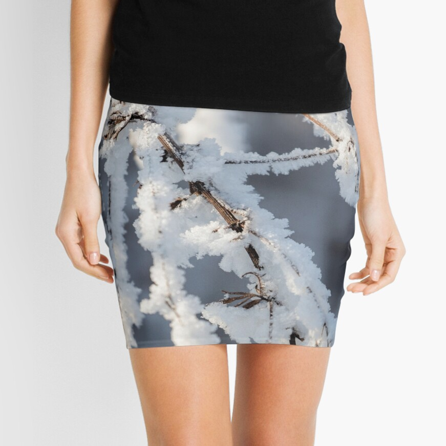 Snowy twigs  Mini Skirt