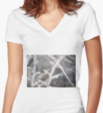 Snowy twigs  Women's Fitted V-Neck T-Shirt