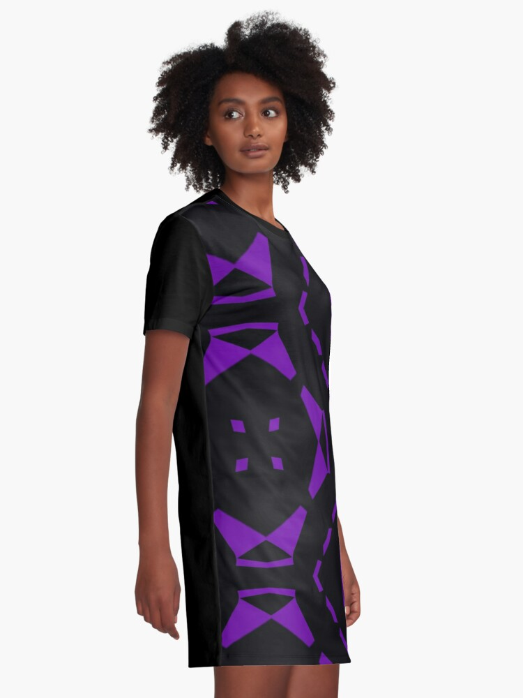 Alternate view of Purple and Black by Julie Everhart Graphic T-Shirt Dress