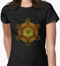 Sacred Geometry TerraCube Womens Fitted T-Shirt