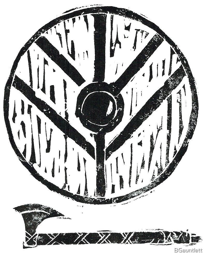 Viking Shield Axe Lino By Bgauntlett Redbubble