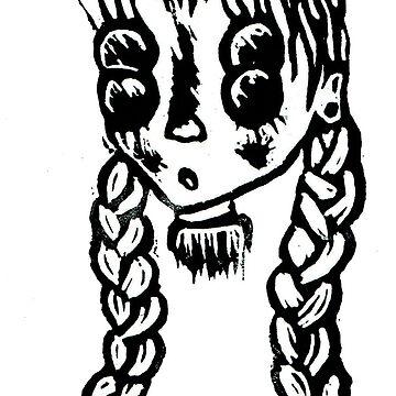 Girl Four Eyes Lino by BGauntlett