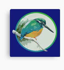 Kingfisher, Jewel of the Waterways, Waiting in the Willows.  Canvas Print