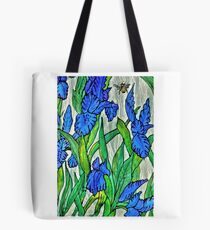 Blue Iris and Bee Tote Bag