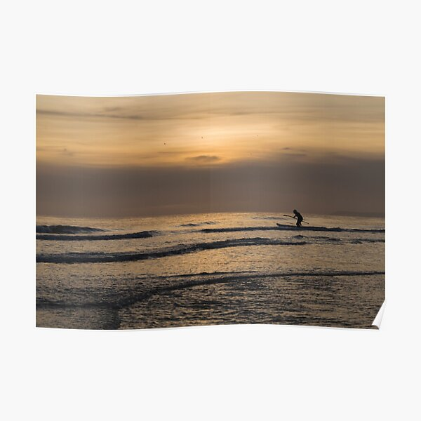 Paddle Boarding at Sunset Poster