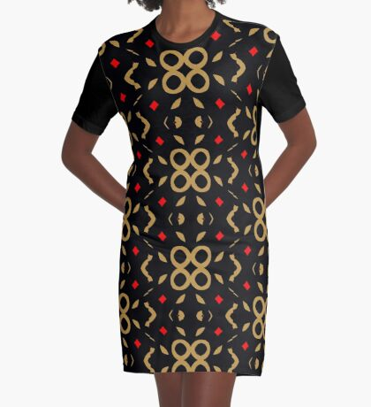 Red and Taupe Design by Julie Everhart Graphic T-Shirt Dress