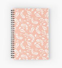 Pink and White Floral Pattern Spiral Notebook