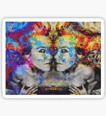 Double Trouble Mixed Media Artwork Sticker