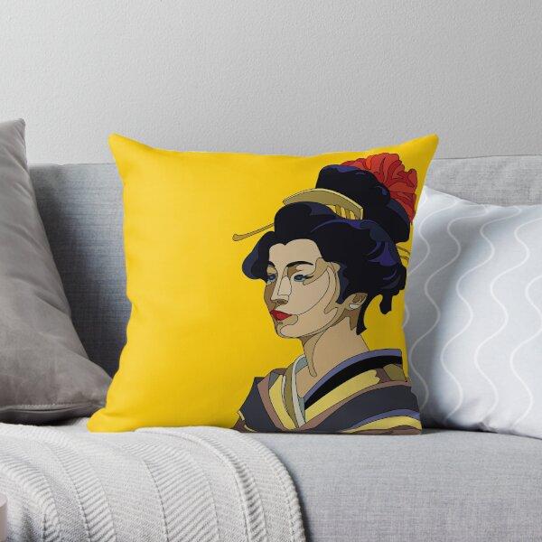 Yellow Geisha Throw Pillow