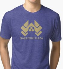 A distressed version of the Nakatomi Plaza symbol Tri-blend T-Shirt