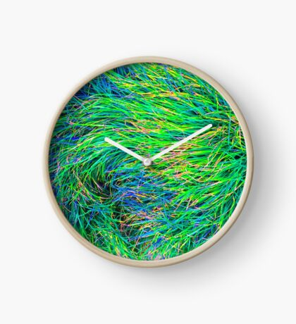 A Swirl of Grass - Green & Blue Clock