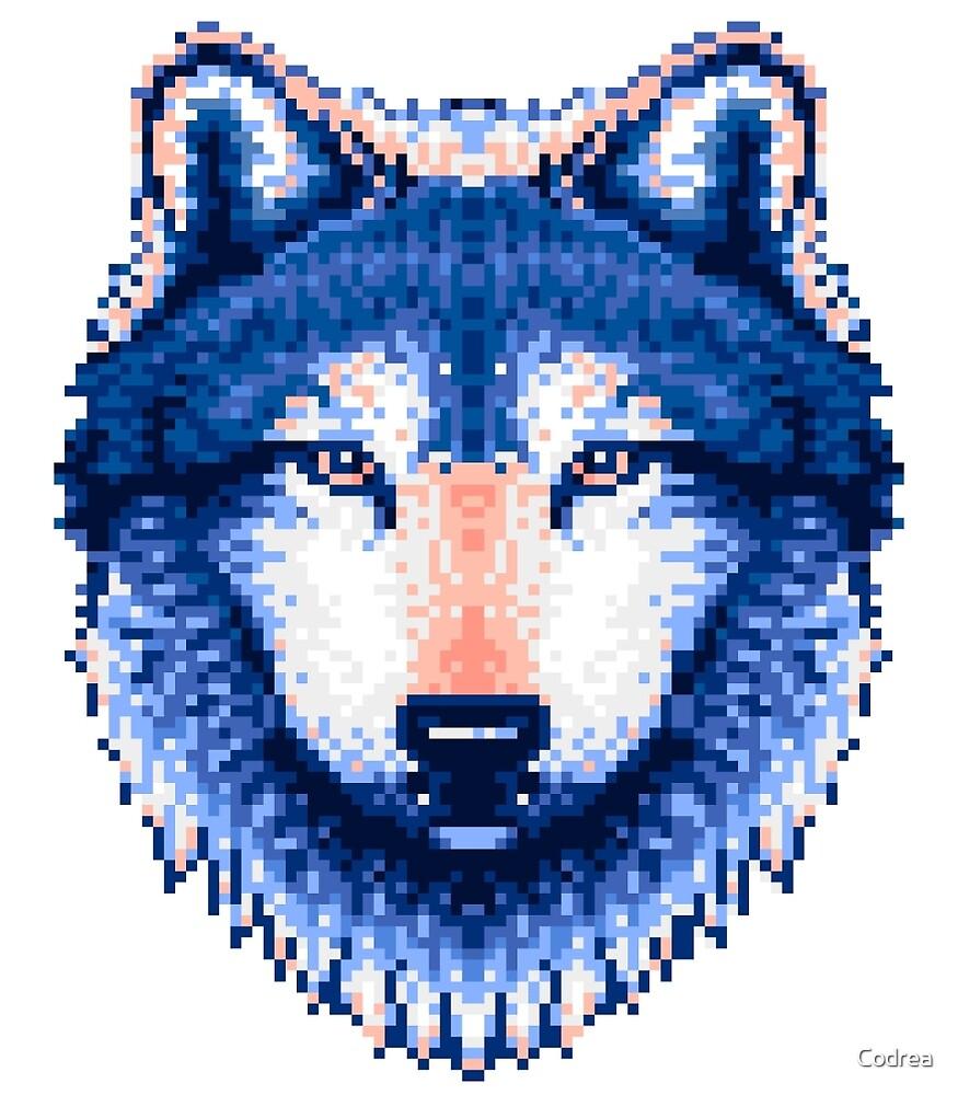 """""""Steel/Blue Wolf Pixel Art"""" by Codrea"""