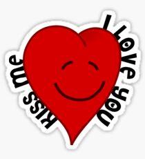 I love you kiss me valentine's heart Sticker