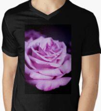 Lilac rose on black background Men's V-Neck T-Shirt