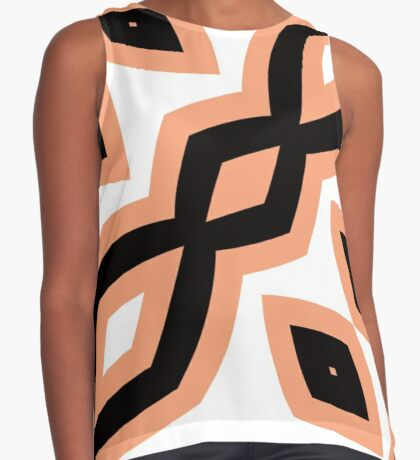 Peach and Black by Julie Everhart Sleeveless Top