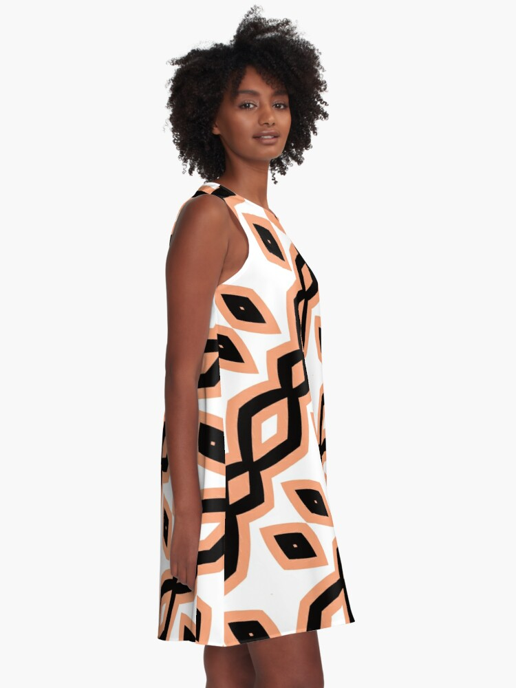 Alternate view of Peach and Black by Julie Everhart A-Line Dress
