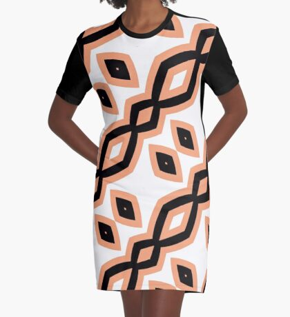 Peach and Black by Julie Everhart Graphic T-Shirt Dress