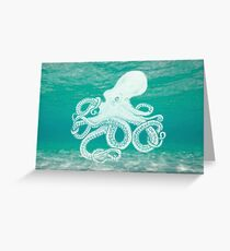Colourful underwater octopus Greeting Card