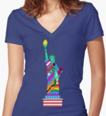Liberty for All Women's Fitted V-Neck T-Shirt