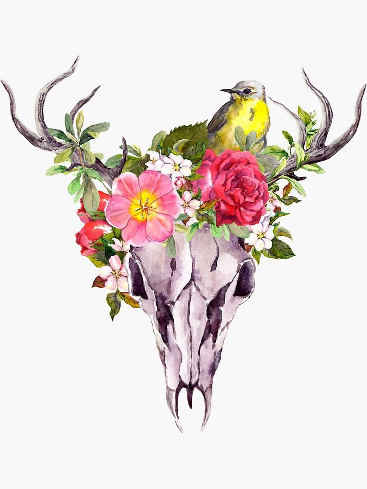 Boho skull with feathers, flowers, bird by joellis