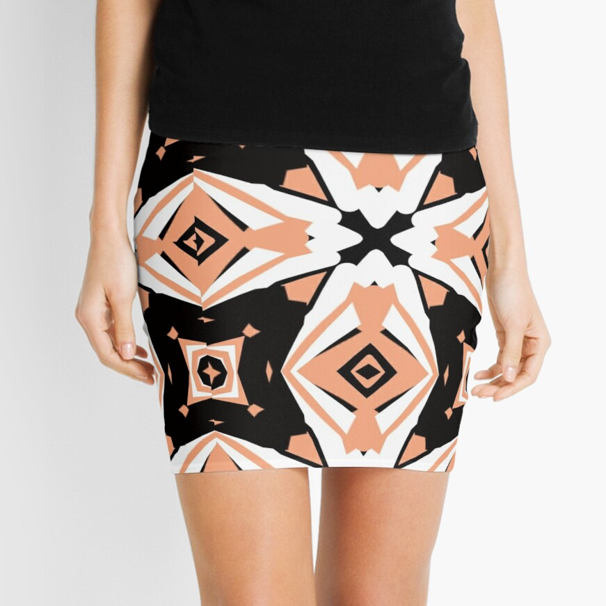 Peach and Black 2 by Julie Everhart Mini Skirt