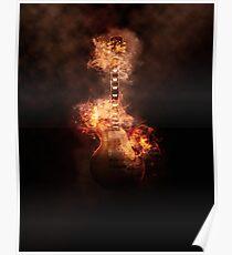 Guitare en feu Poster