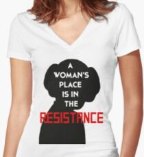 A Woman's Place Is In The Resistance Women's Fitted V-Neck T-Shirt
