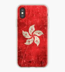 Vintage Aged and Scratched Hong Kong Flag iPhone Case