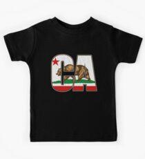 California Bear Flag (Distressed Vintage Design) Kids Tee