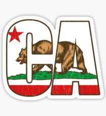 California Bear Flag (Distressed Vintage Design) Sticker
