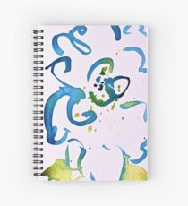 Free Flowing Floral Blue Green Yellow Spiral Notebook
