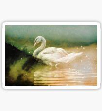 Forest Nature Animals - Swan Night Swim Sticker