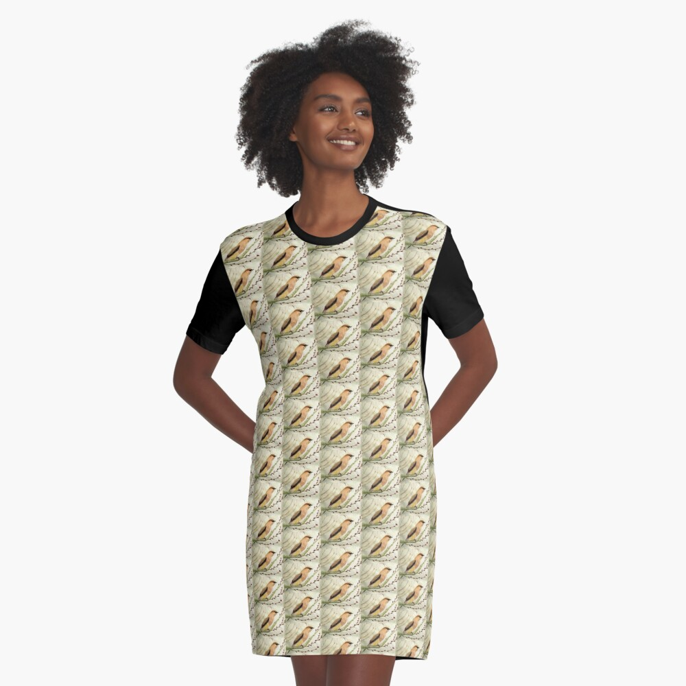 A Waxwing In The Orchard Graphic T-Shirt Dress Front