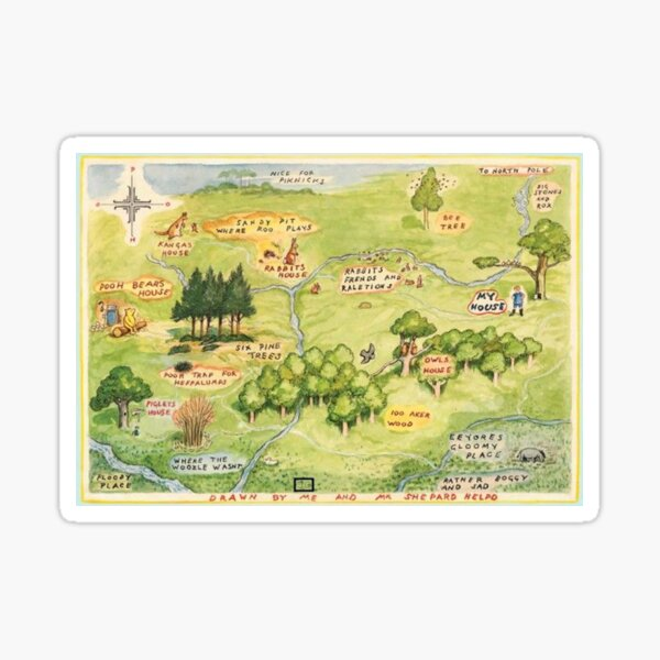 Hundred Acre Woods Map Sticker