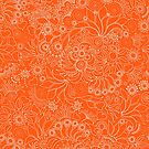 Floral on orange by bunyipdesigns
