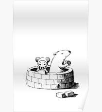 Girl and a polar bear building Poster