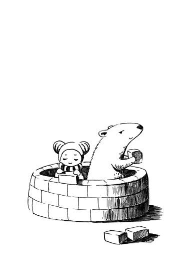 Girl and a polar bear building by freeminds