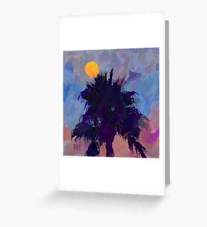 Moonrise and Palm Tree Greeting Card