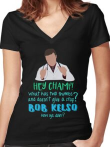 Hey Champ! Women's Fitted V-Neck T-Shirt