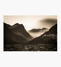 Mountains and Forest - Glacier National Park Vintage Sepia Photographic Print