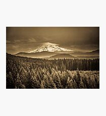 Mountains and Forest - Mt. Hood Sepia Vintage with Trees and Clouds Photographic Print