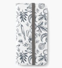 Vegetables - Kitchen - Blue & White iPhone Wallet