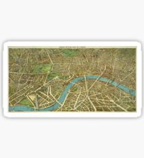 1908 London Vintage Map Poster Sticker