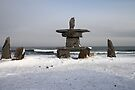 Inuit Inukshuk on Hudson Bay by Carole-Anne