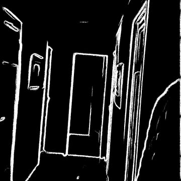 black and white drawing effect a hall by ZierNor