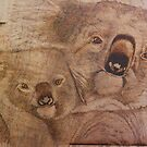 Pyrography: Koala Mother and Baby by aussiebushstick