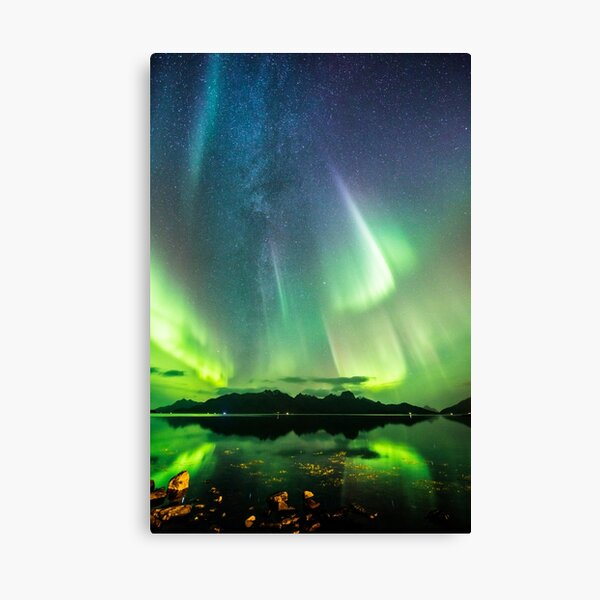Milky Way and the auroras Canvas Print